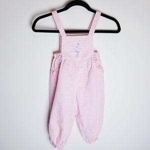 Vintage sear-sucker romper jump suit overall pink